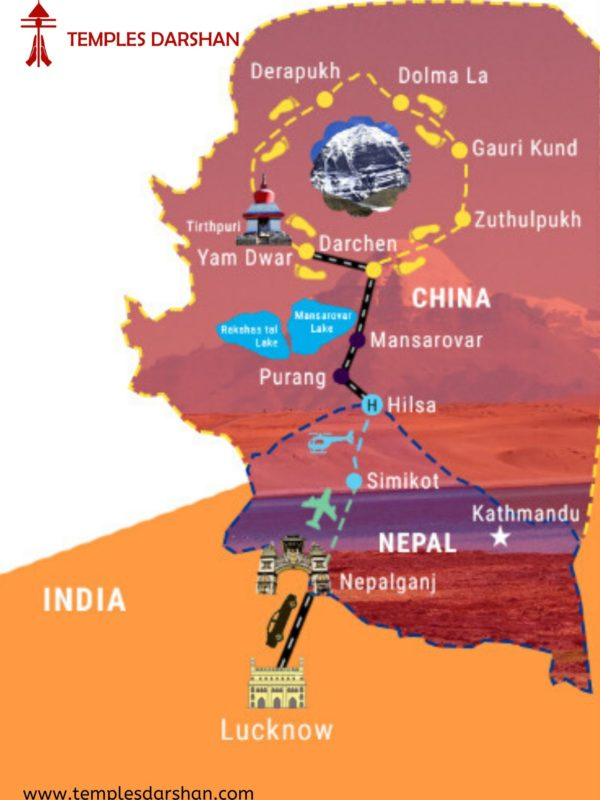 Route map of Kailash Mansarovar Yatra from Lucknow